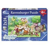 Ravensburger - Puzzle Cei sapte pitici, 2x24 piese