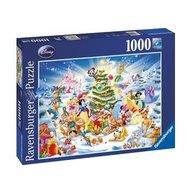 Ravensburger - Puzzle Craciunul in familia Disney, 1000 piese