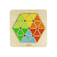Masterkidz - Puzzle din lemn Hexagon colorat , Puzzle Copii, piese 18