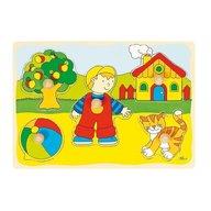 Goki Puzzle din lemn Baietel si Pisicuta