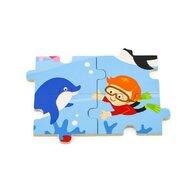 Viga - Puzzle din lemn Animale din ocean , Puzzle Copii, piese 16