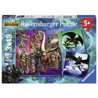 Ravensburger - Puzzle Dragons III, 3x49 piese