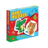 Alexander Toys - Puzzle educativ Croco si prietenii , Puzzle Copii , 6 imagini, Mega Box, piese 27