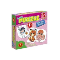 Alexander Toys - Puzzle educativ Vulpita si prietenii , Puzzle Copii , Mega Box, 15 imagini