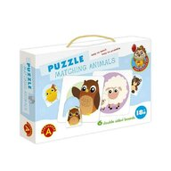 Alexander Toys - Puzzle educativ Perechi de animale , Puzzle Copii , 6 imagini, piese 12
