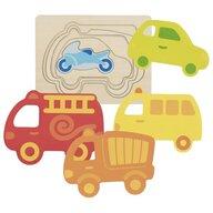 Goki - Puzzle din lemn Masini colorate Incastru Puzzle Copii, piese5