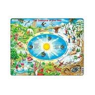 Larsen - Puzzle educativ Anotimpurile , Puzzle Copii , Maxi, Orientare tip vedere, In engleza, piese 44