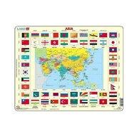 Larsen - Puzzle maxi Asia cu steaguri (limba engleza)  orientare tip vedere  70 de piese