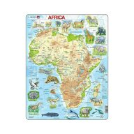 Larsen - Puzzle maxi Harta Africii cu animale, orientare tip portret, 63 de piese,