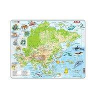 Larsen - Puzzle maxi Harta Asiei cu animale, orientare tip vedere, 63 de piese,