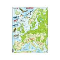 Larsen - Puzzle maxi Harta fizica a Europei  orientare tip portret  87 piese