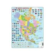Larsen - Puzzle maxi Harta politica a Americii de Nord  orientare tip portret  70 de piese