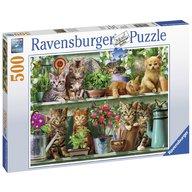 Ravensburger - Puzzle Pisici pe raft, 500 piese