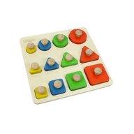 Masterkidz - Puzzle sortator de forme geometrice dupa dimensiune, din lemn, +2 ani, , pentru gradinite