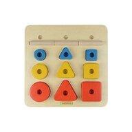 Masterkidz - Puzzle sortator de forme geometrice dupa forma  dimensiune si culoare  din lemn  +2 ani