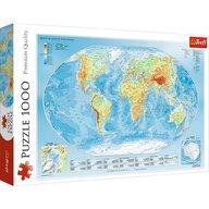 Trefl - Puzzle educativ Harta fizica a lumii , Puzzle Copii, piese 1000