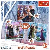 Trefl - Puzzle personaje Frozen 2 Regatul de Gheata , Puzzle Copii , 3 in 1, piese 103