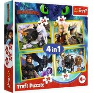 Trefl - Puzzle personaje Cum sa iti dresezi dragonul 3 , Puzzle Copii ,  4 in 1, piese 207