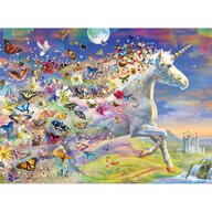 Ravensburger - Puzzle personaje Unicorni si fluturi Cu stickere Puzzle Copii, piese 500