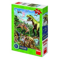 Dino Toys - Puzzle XL lumea dinozaurilor neon 100 piese