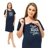 Qmini - Camasa de alaptat, L, Best Mom Ever, Navy Blue