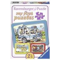 Ravensburger - Primul meu puzzle politie, pompieri, 3x6 piese