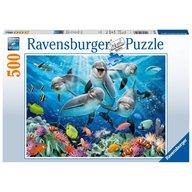 Ravensburger - Puzzle Delfini, 500 Piese, Albastru