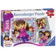 Ravensburger - Puzzle Dora si prietenii, 3x49 piese