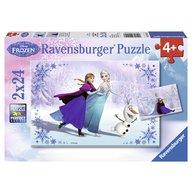 Ravensburger - Puzzle Frozen Surori pentru totdeauna, 2x24 piese