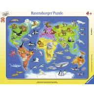 Ravensburger - Puzzle harta lumii cu animale, 30 piese