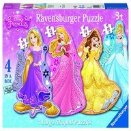 Ravensburger - Puzzle Printesele Disney, 4 buc in cutie, 10/12/14/16 piese