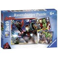 Ravensburger - Puzzle Razbunatorii, 3x49 piese