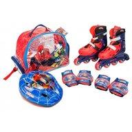 Saica - Role copii reglabile 31-34 Spiderman, cu protectii si casca in ghiozdan