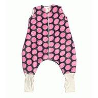 Deseda - Sac de dormit de iarna  cu picioare din cocolino 1-3 ani  Buline roz pe gri