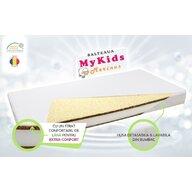 MyKids - Saltea pentru patut Merinos din Bumbac, 120x60 cm, 10 cm Cocos-Spuma-Cocos-Lana, Alb
