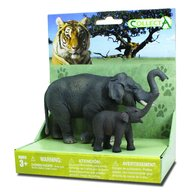 Collecta - Set 2 Figurine Elefant Asiatic cu pui