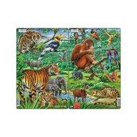 Larsen - Set 2 Puzzle midi Jungla asiatica cu Maimute  Tigri  orientare tip portret  30 piese