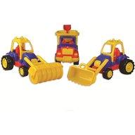 Ucar Toys - Set 3 utilaje constructie Autobasculanta, Buldozer si Tractor compactor