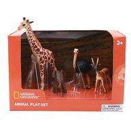 National Geographic - Set 4 figurine Girafa, Elefantel, Strut si Antilopa