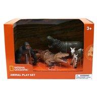 National Geographic - Set 4 figurine Gorila, Crocodil pui, Zebra si Hipopotam