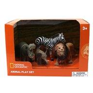 National Geographic - Set 4 figurine Hipopotam, Elefantel, Zebra si Leu
