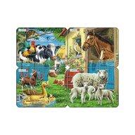 Larsen - Set 4 Puzzle mini Animale de la ferma cu Oi  Rate  Vaci  Cai  orientare tip vedere  7 piese