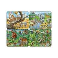 Larsen - Set 4 Puzzle mini Animale exotice cu Gheparzi  Elefanti  Papagali  Tigir  orientare tip vedere  11 piese