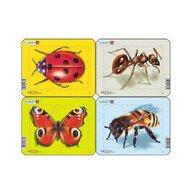 Larsen - Set 4 Puzzle mini Insecte cu Albina  Buburuza  Fluture  Furnica  orientare tip vedere  5 piese
