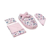 Jukki - Set 5 piese Bebe rasfatat, cosulet bebe, lenjerie, salteluta si perna bebe Swallows