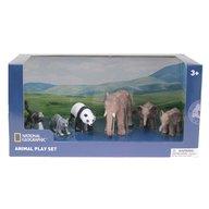 National Geographic - Set 6 figurine Elefantul si puii Maimuta, Raton, Urs Panda