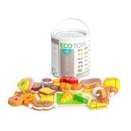 Ecotoys - Set alimente din lemn 23 buc