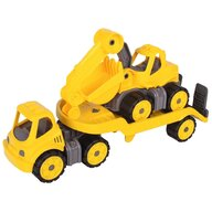 Big - Set Camion cu remorca si excavator Power Worker Mini Transporter with Digger