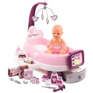 Smoby - Set cadita si accesorii pentru papusi Baby Nurse Nursery, Mov