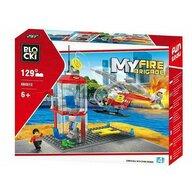 Blocki - Set complet cuburi constructie MyFireBrigade Platforma pompieri, 129 piese,